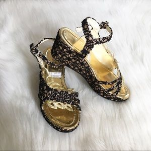 Girls Fancy Black & Gold Glitter Wedge Sandals